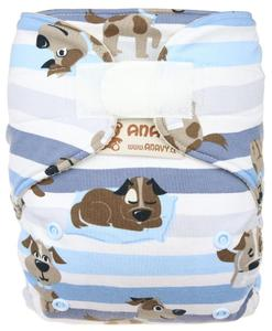 Dogs (blue) Wool diaper cover with velcro