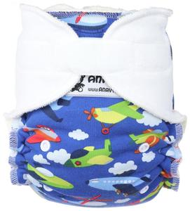 Airplanes (dark blue)/White Fitted diaper with velcro