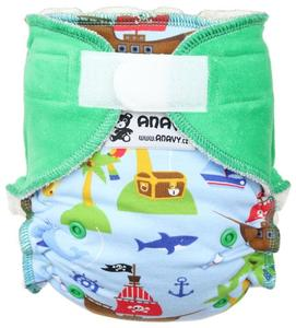 Pirates (light blue)/Pine Fitted diaper with velcro