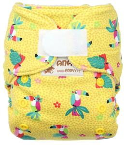 Parrots (yellow) Wool diaper cover with velcro