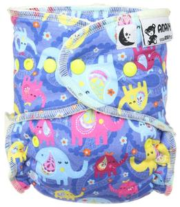 Elephants (blue) Fitted diaper with snaps