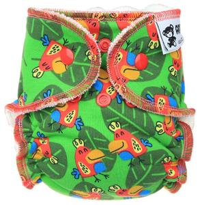 Parrot (green) Fitted diaper with snaps