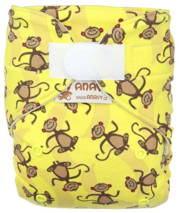 Monkey (yellow) Wool diaper cover with velcro