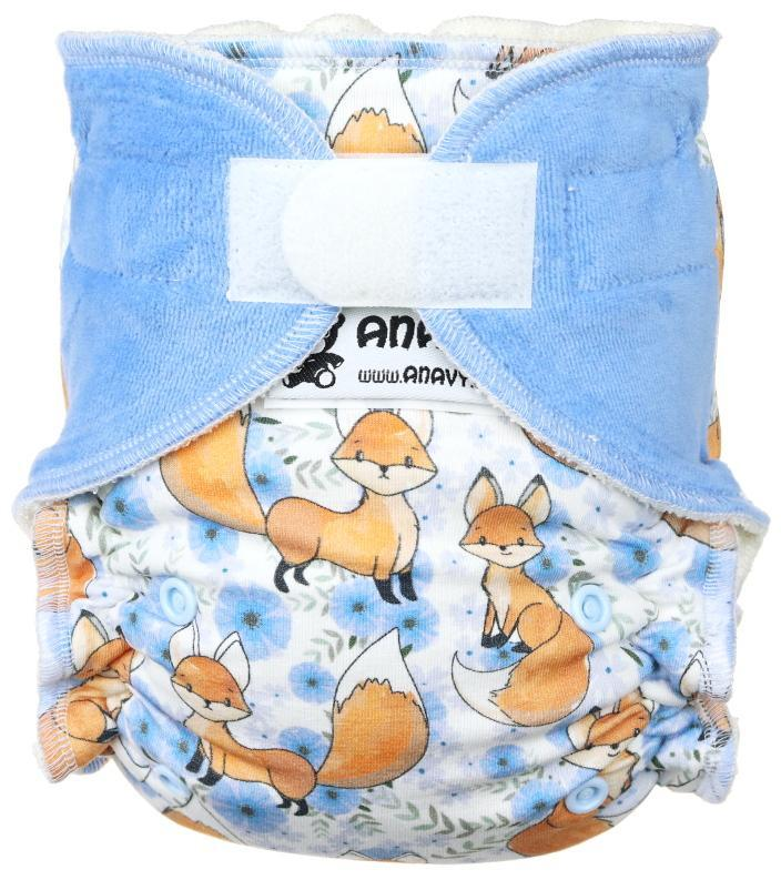 Fox and flowers Fitted diaper with velcro