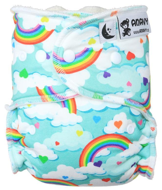 Rainbow hearts Fitted diaper with snaps