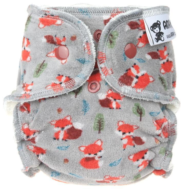 Foxes (grey) Fitted diaper with snaps