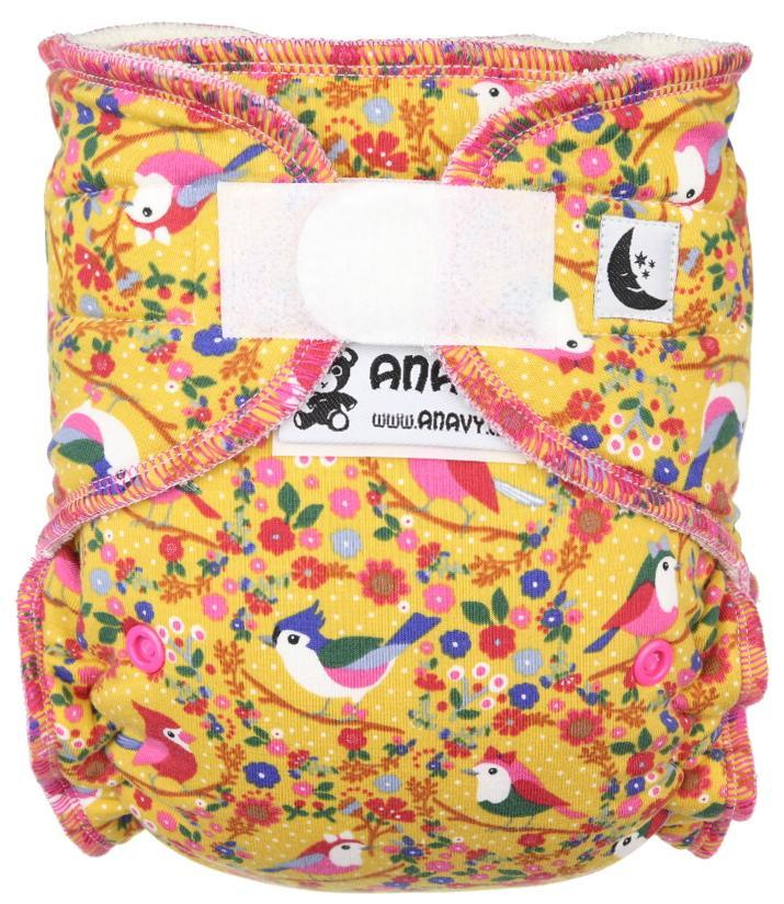 Birds (yellow) II. quality Fitted diaper with velcro