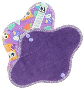 Dark violet/Owls Menstrual pad with PUL