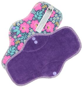 Dark violet/Flowers Menstrual pad with PUL