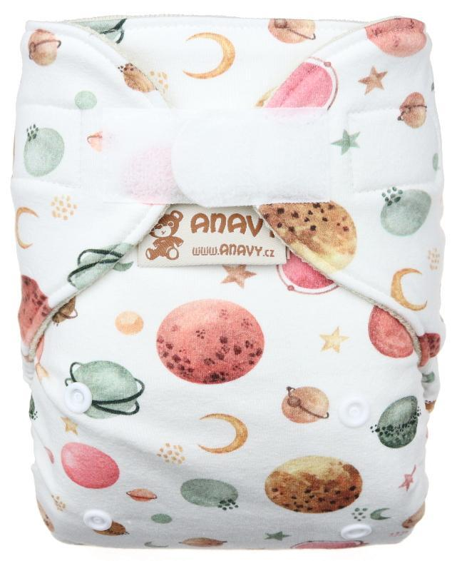 Planets (white) Wool diaper cover with velcro