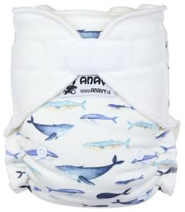 Whales (white) Fitted diaper with velcro