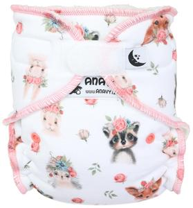 Animals and roses Fitted diaper with velcro
