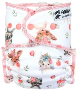 Animals and roses Fitted diaper with snaps
