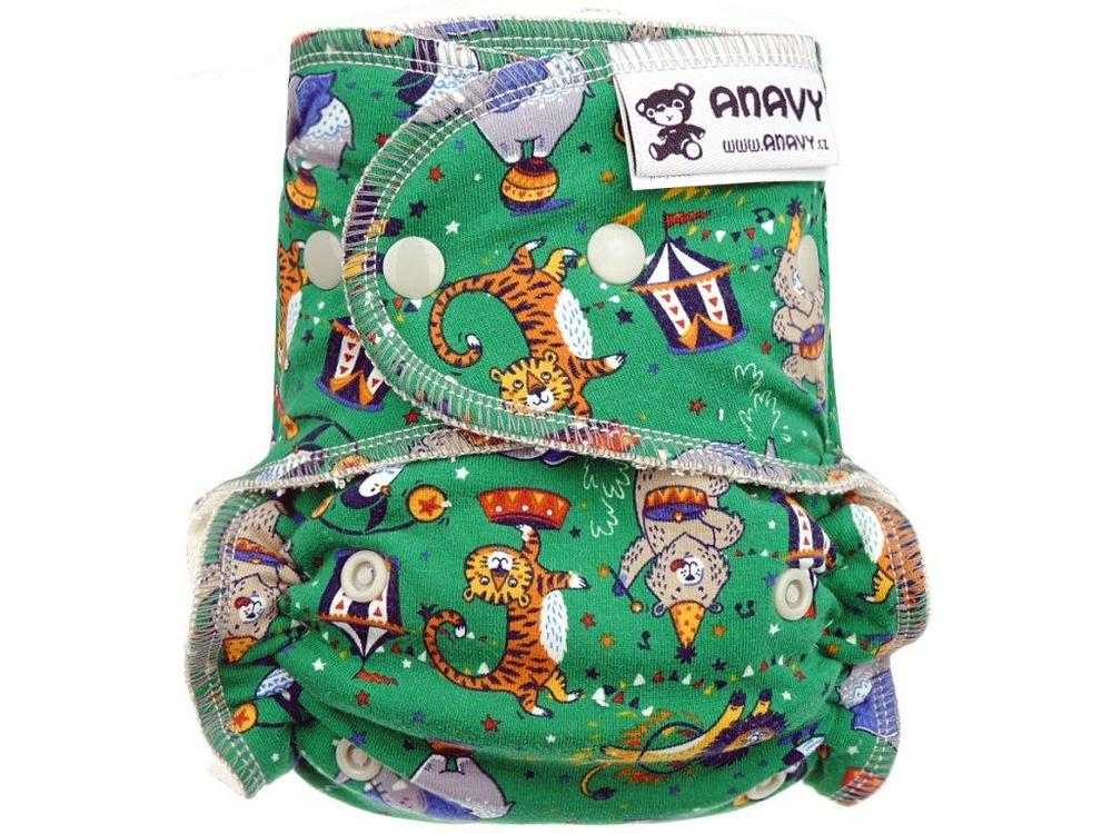 Circus (green) Fitted diaper with snaps