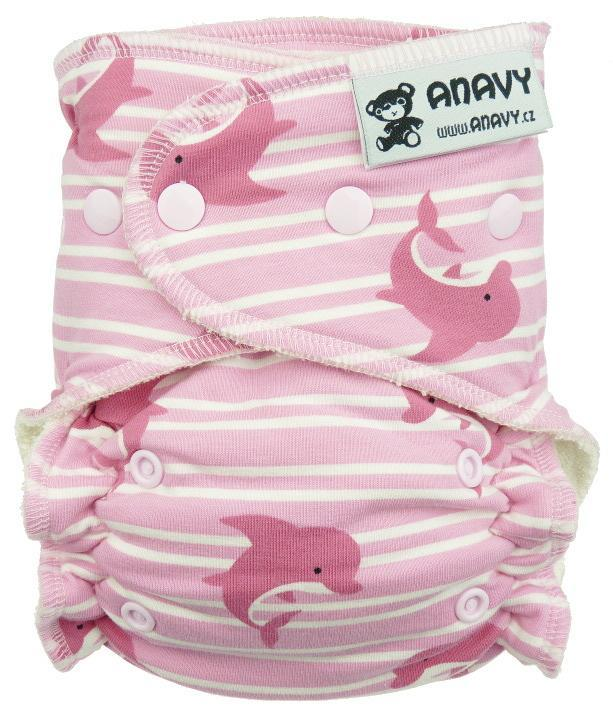 Dolphins (pink) Fitted diaper with snaps