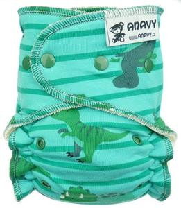Dinosaurs and stripes (green, blue) Fitted diaper with snaps
