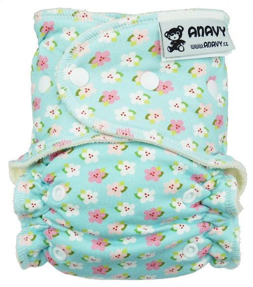 Little flowers (blue) Fitted diaper with snaps