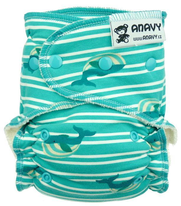 Whales and stripes Fitted diaper with snaps