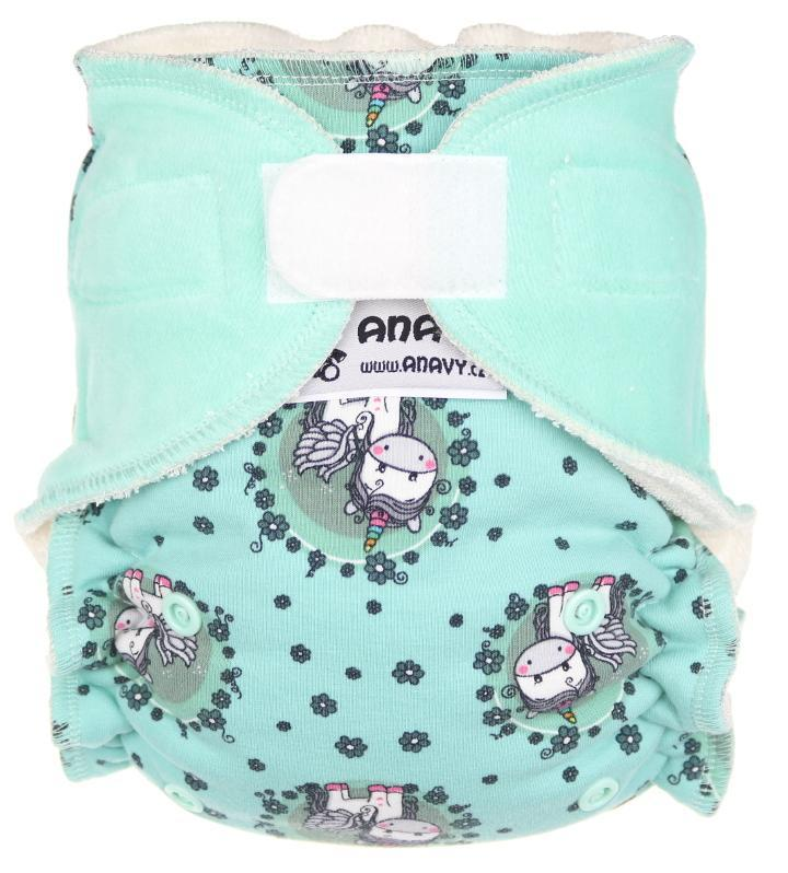 Unicorns in the meadow/Mint Fitted diaper with velcro