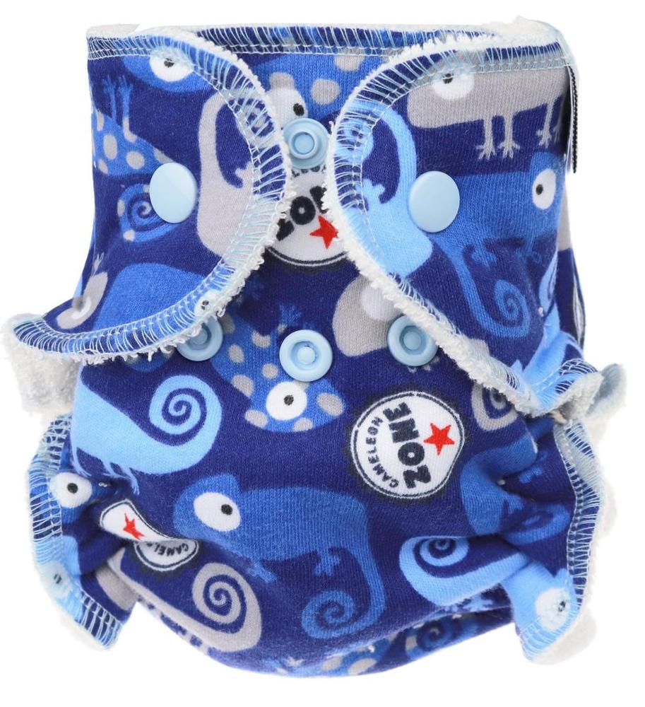 Chameleons (dark blue) Fitted diaper with snaps