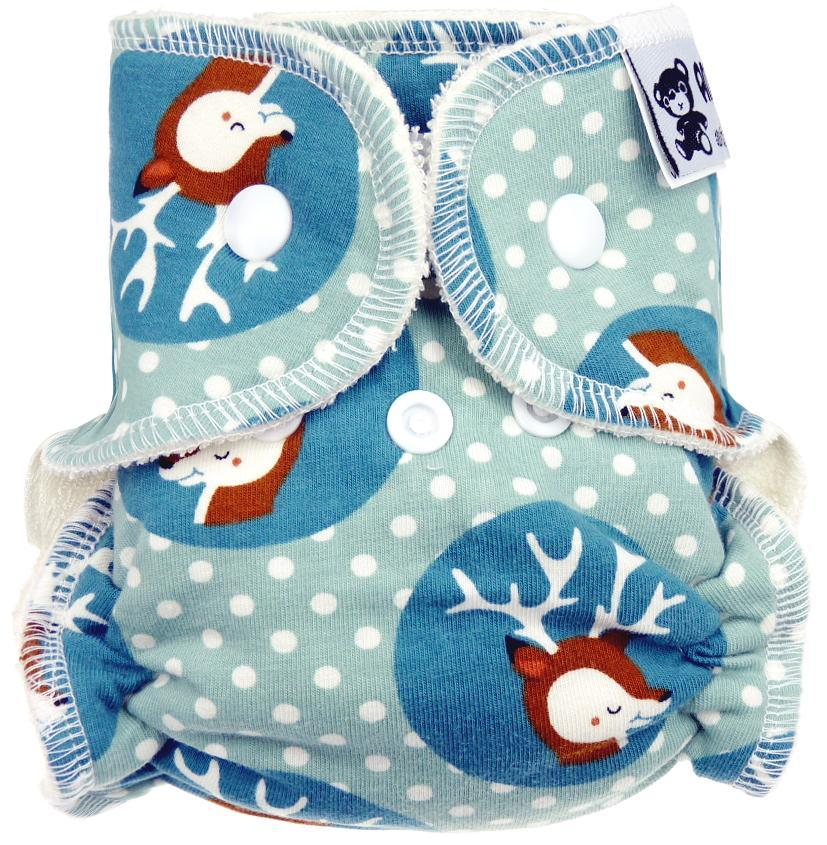 Deer in circles Fitted diaper with snaps