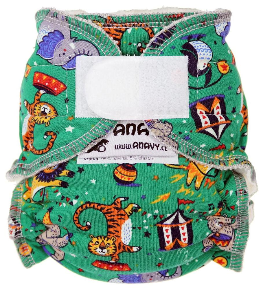 Circus (green) Fitted diaper with velcro