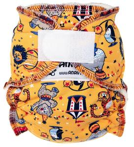 Circus (yellow) Fitted diaper with velcro