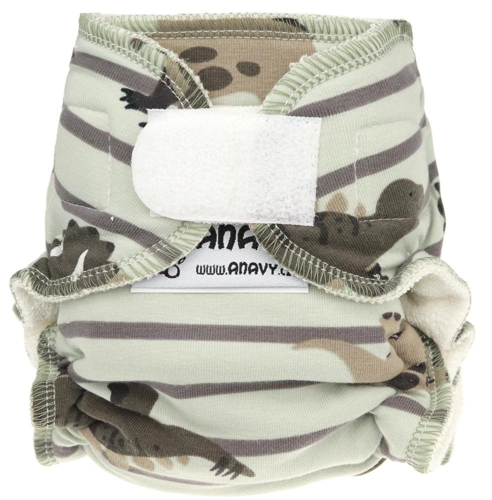 Dinosaurs and stripes (brown) Fitted diaper with velcro