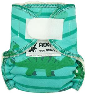 Dinosaurs and stripes (green, blue) Fitted diaper with velcro