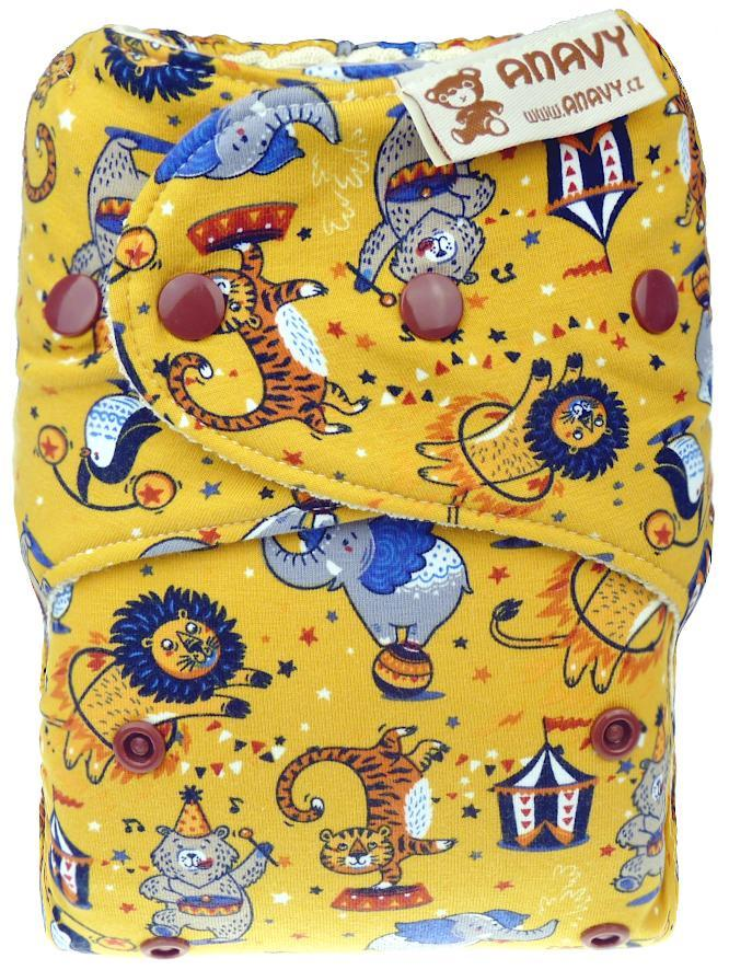 Circus (yellow) Wool diaper cover with snaps