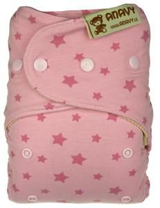 Stars (pink) Wool diaper cover with snaps