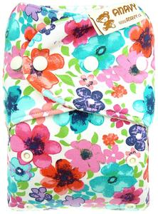 Flowers (multicolor) Wool diaper cover with snaps