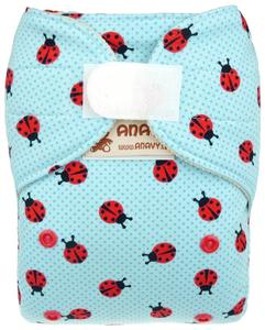 Ladybugs (blue) Wool diaper cover with velcro