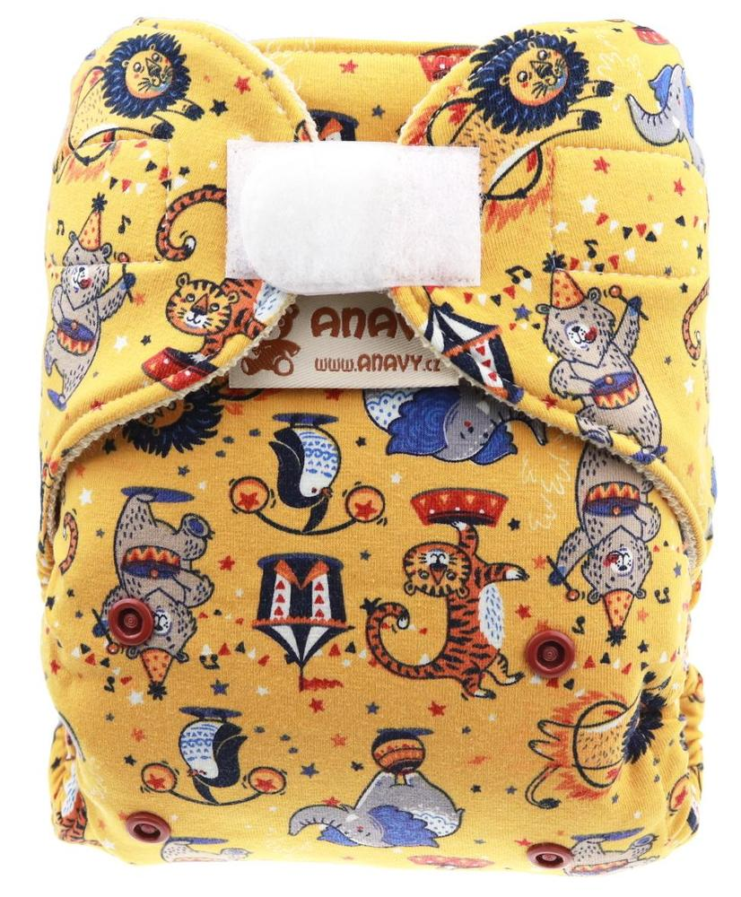 Circus (yellow) Wool diaper cover with velcro