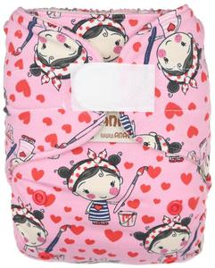 Painting girl Wool diaper cover with velcro