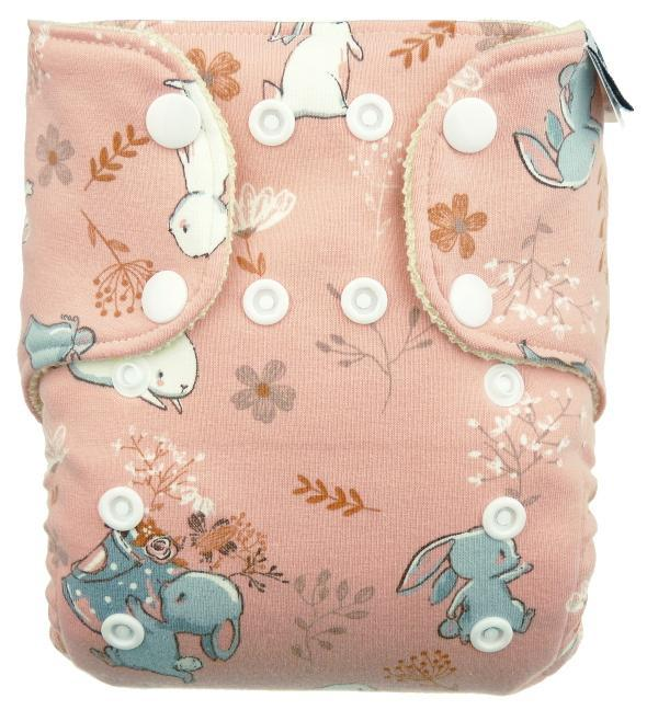 Rabbits (pink) Wool diaper cover with snaps