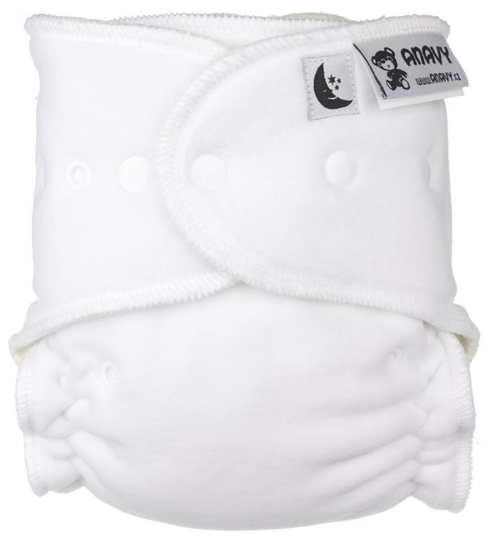 White Fitted diaper with snaps
