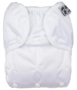 White PUL diaper cover with snaps