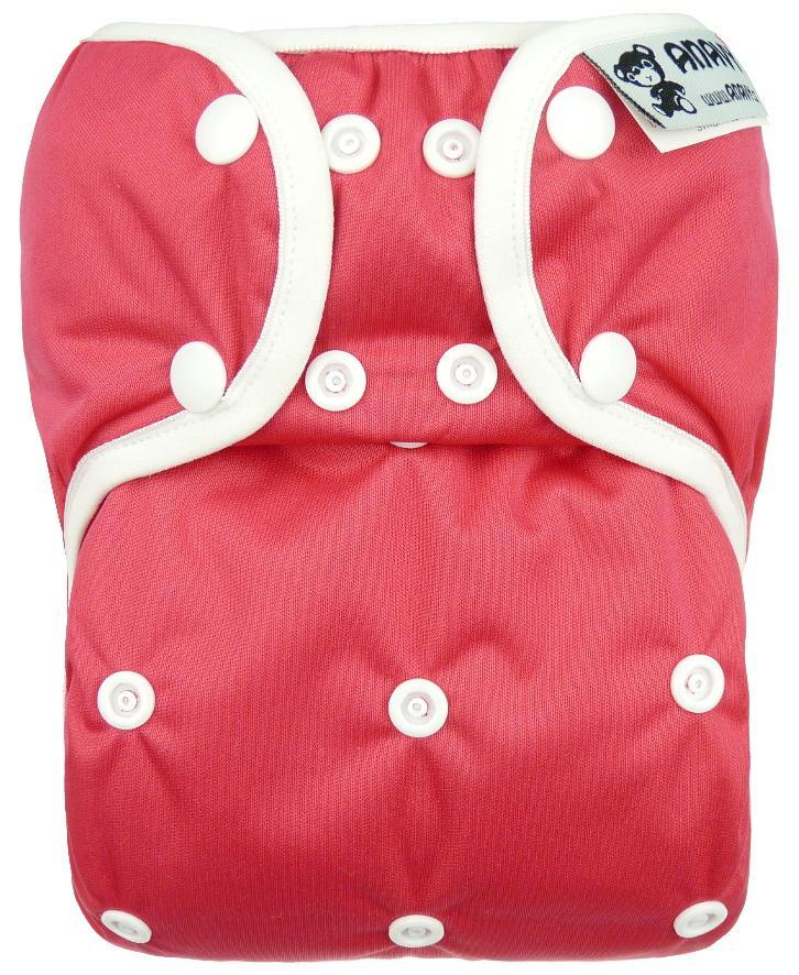 Raspberry PUL diaper cover with snaps