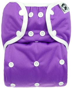 Violet PUL diaper cover with snaps