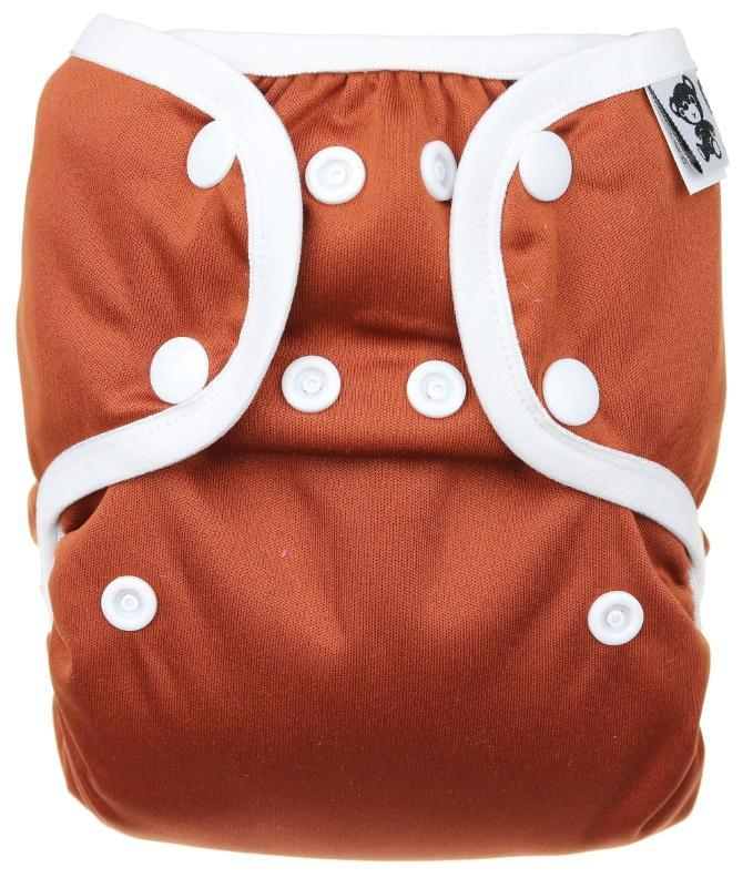 Chocolate PUL diaper cover with snaps