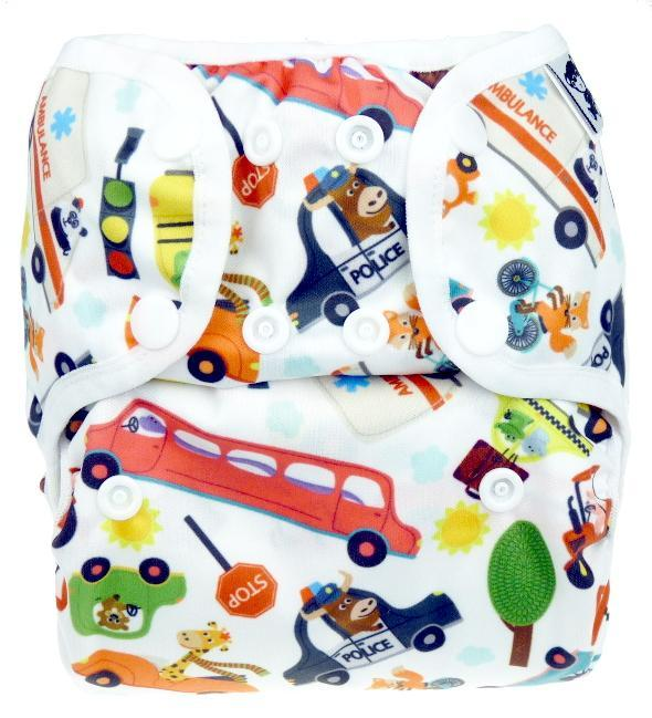 City traffic PUL diaper cover with snaps