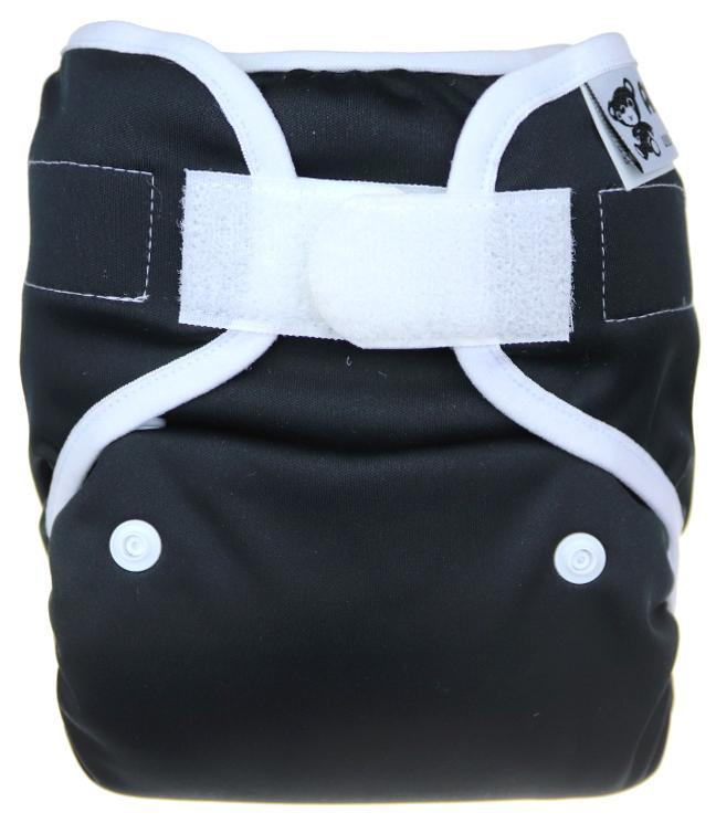 Black PUL diaper cover with velcro