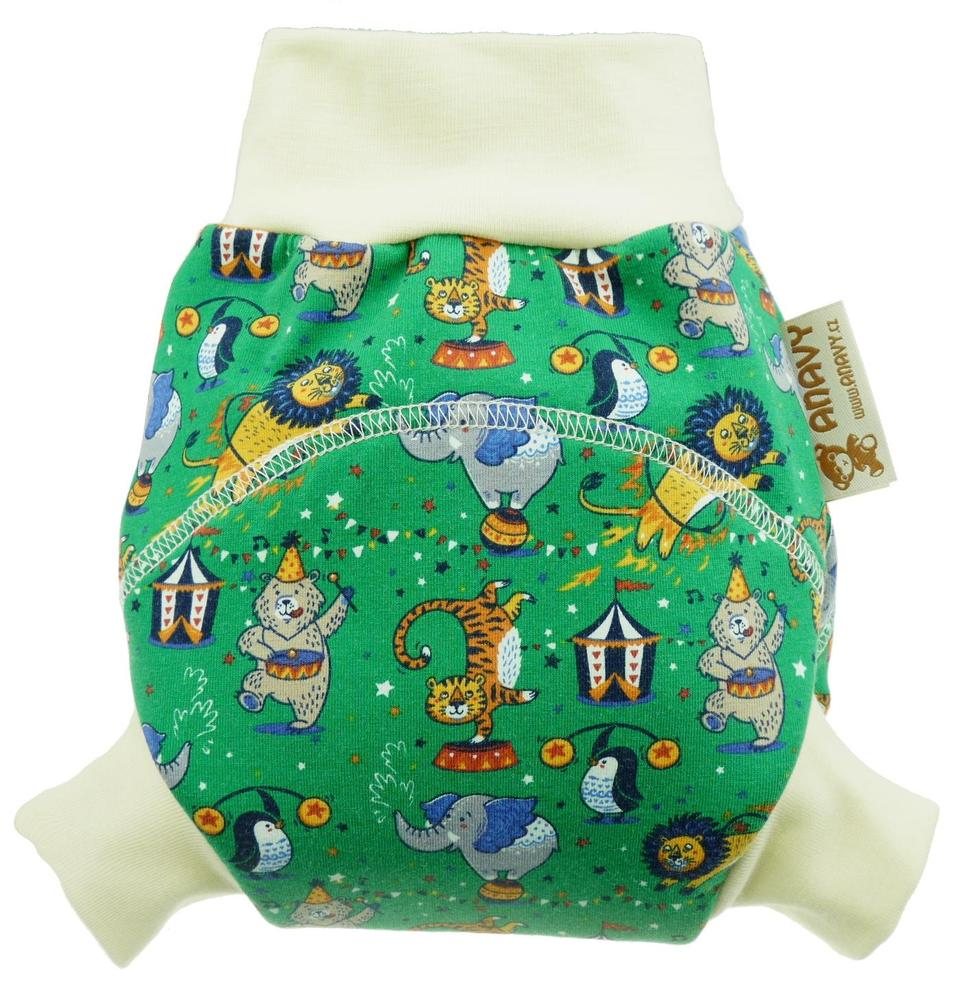 Circus (green) Wool diaper cover pull-up