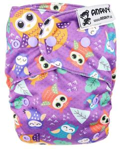 Owls (violet) Anavy Easy with snaps