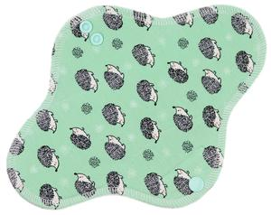 Hedgehogs (light green) Menstrual pad with fleece