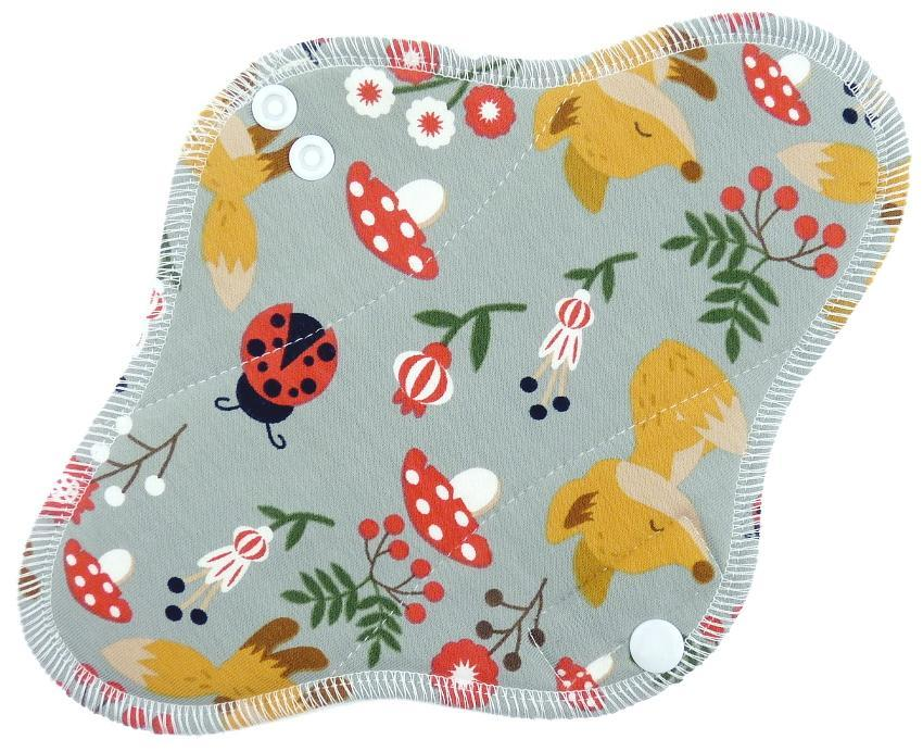 Foxes (grey) Menstrual pad with fleece
