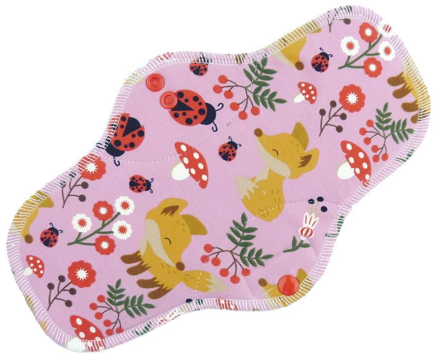 Foxes (pink) Menstrual pad with fleece