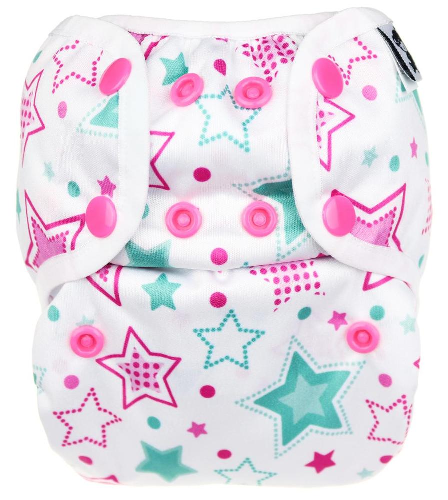Stars (mint) PUL diaper cover with snaps
