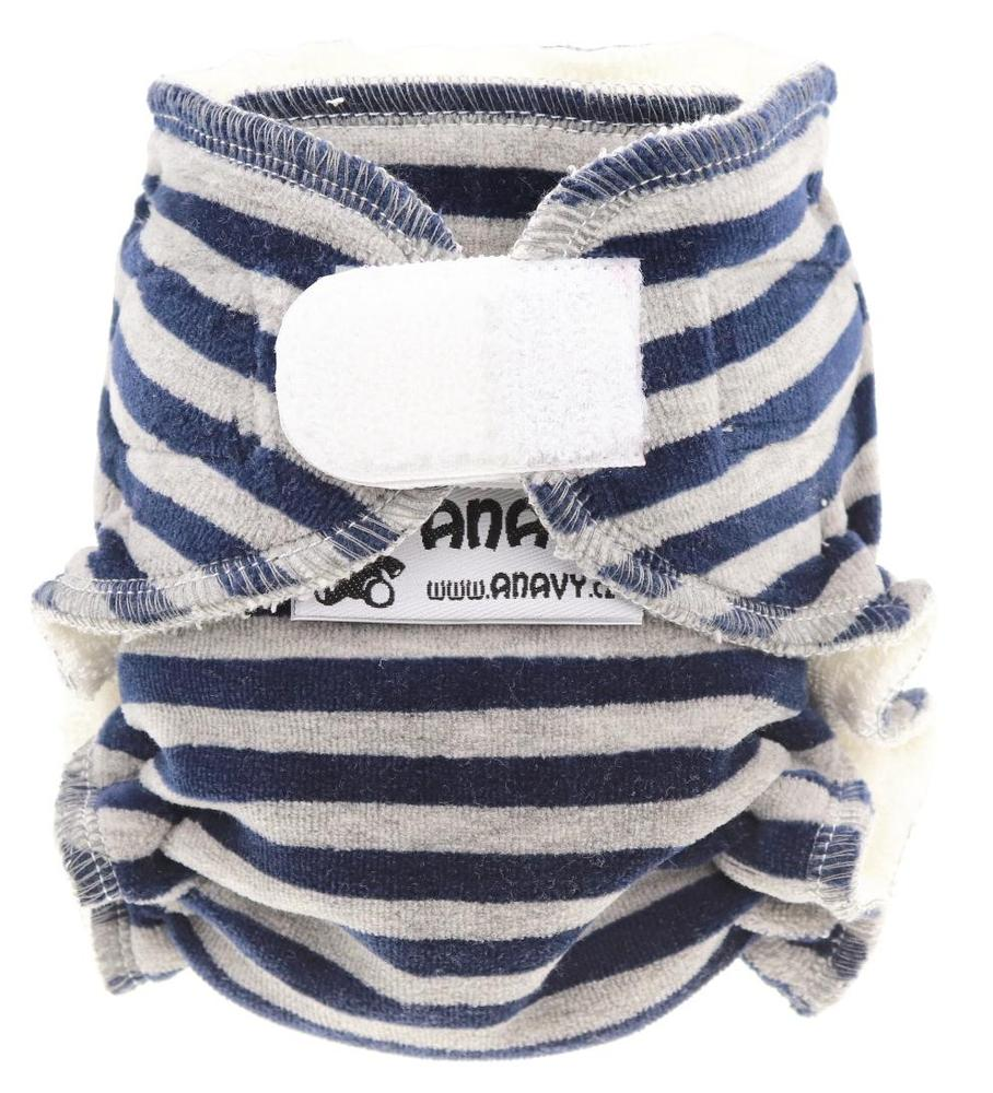 Stripes (dark blue, grey) Fitted diaper with velcro